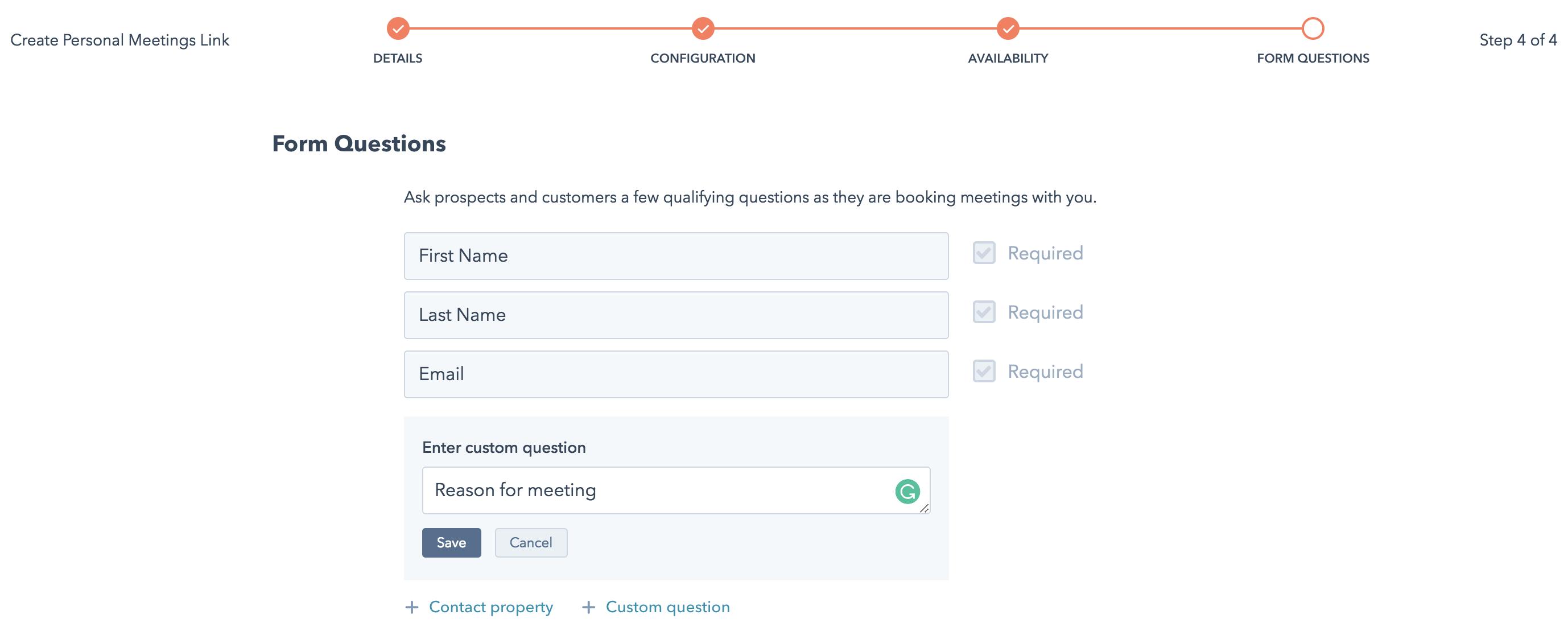 HubSpot Meeting Setup Step 4 Form Questions