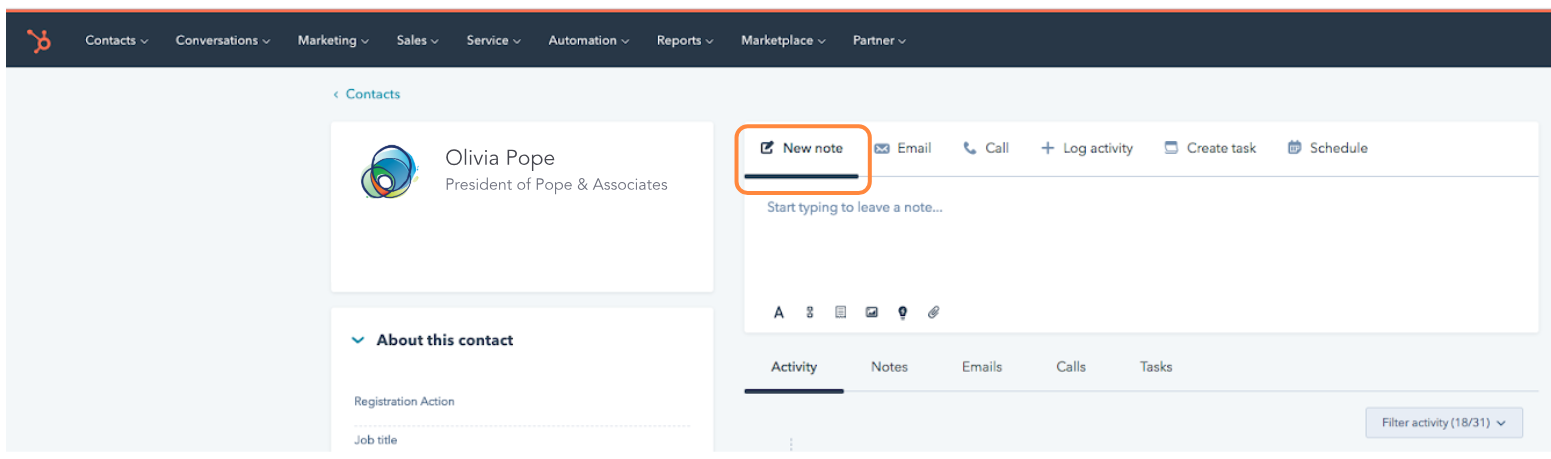 New note in HubSpot-1