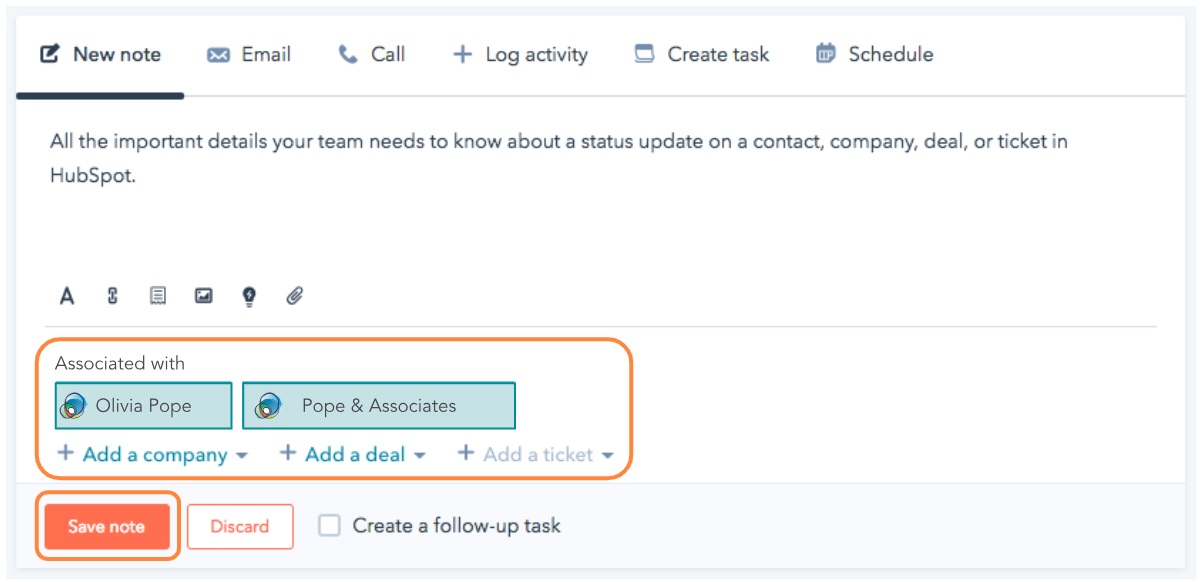Sample Note in HubSpot | Instructions