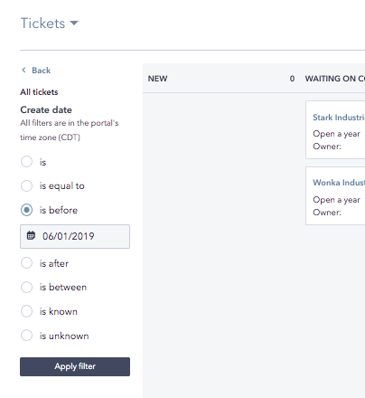 How to set your default view on your tickets board